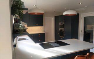 Aldana, Hague Blue, Stella Quartz Countertop and Copper Cup and Knob Handles - Alan Kelly Kitchen Waterford 2