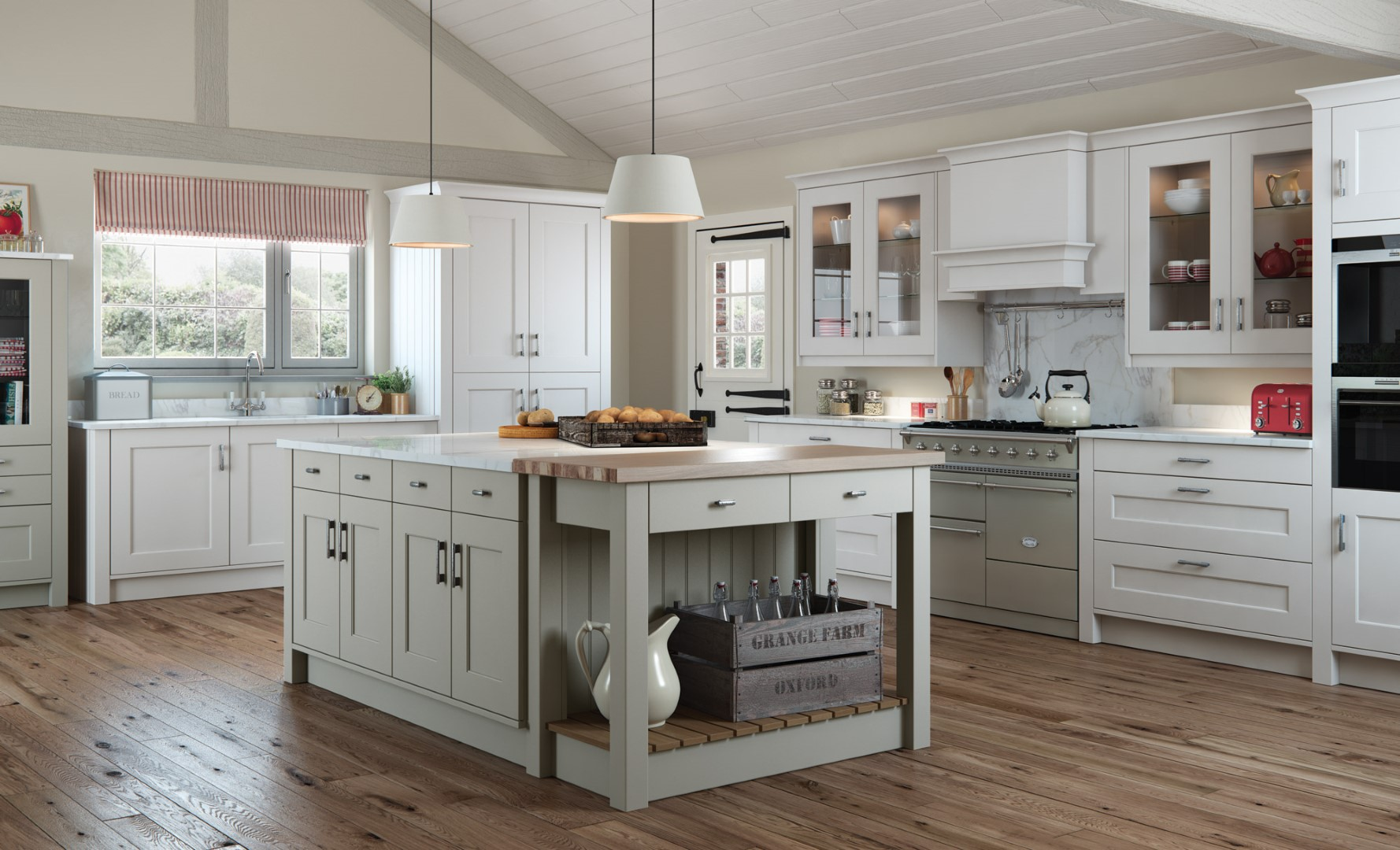 Classic Traditional Country Kitchen - Florence Painted Stone, Light Grey Kitchen - Kitchen Design - Alan Kelly Kitchens - Waterford