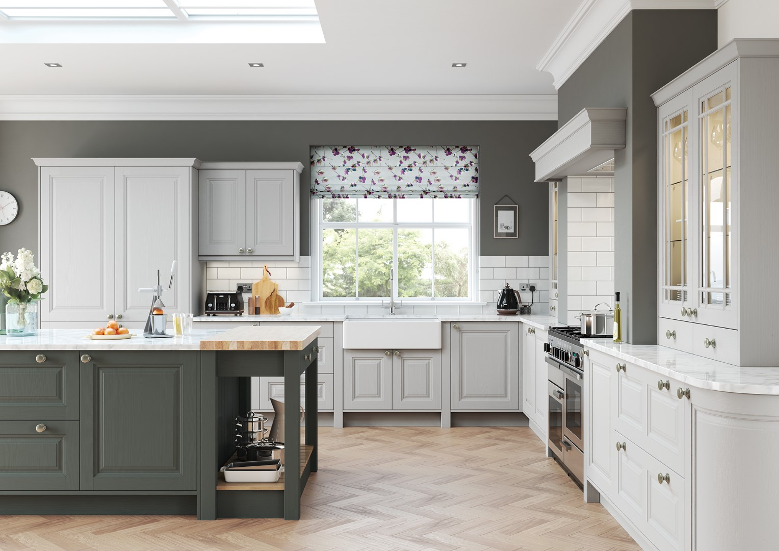 Classic Traditional Country Kitchen - Jefferson Painted Gun Metal Grey and Light Grey Kitchen - Kitchen Design - Alan Kelly Kitchens - Waterford