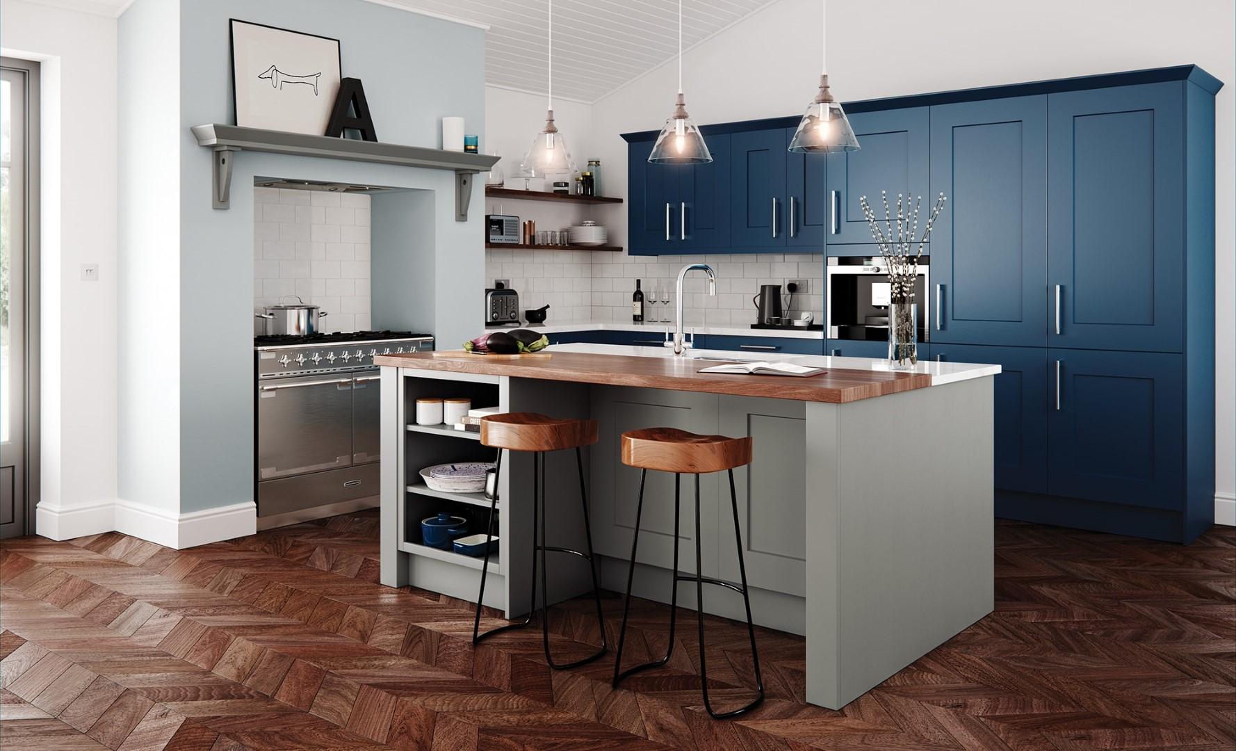 Classic Traditional Kitchen - Clonmel Shaker Kitchen - Stone, Parisian Blue Kitchen - Kitchen Design - Alan Kelly Kitchens - Waterford