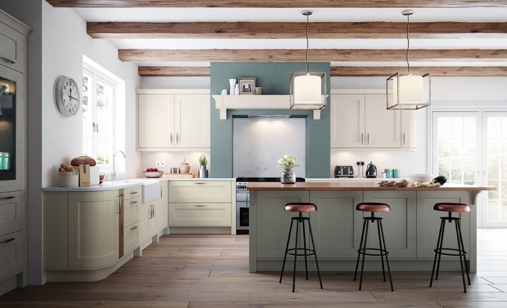 Classic Traditional Kitchen - Florence Painted Porcelain Stone Kitchen - Kitchen Design - Alan Kelly Kitchens - Waterford