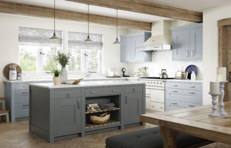 Clonmel Pantry Blue and Gun Metal Grey_ - Kitchen Design - Alan Kelly Kitchens - Waterford - 3