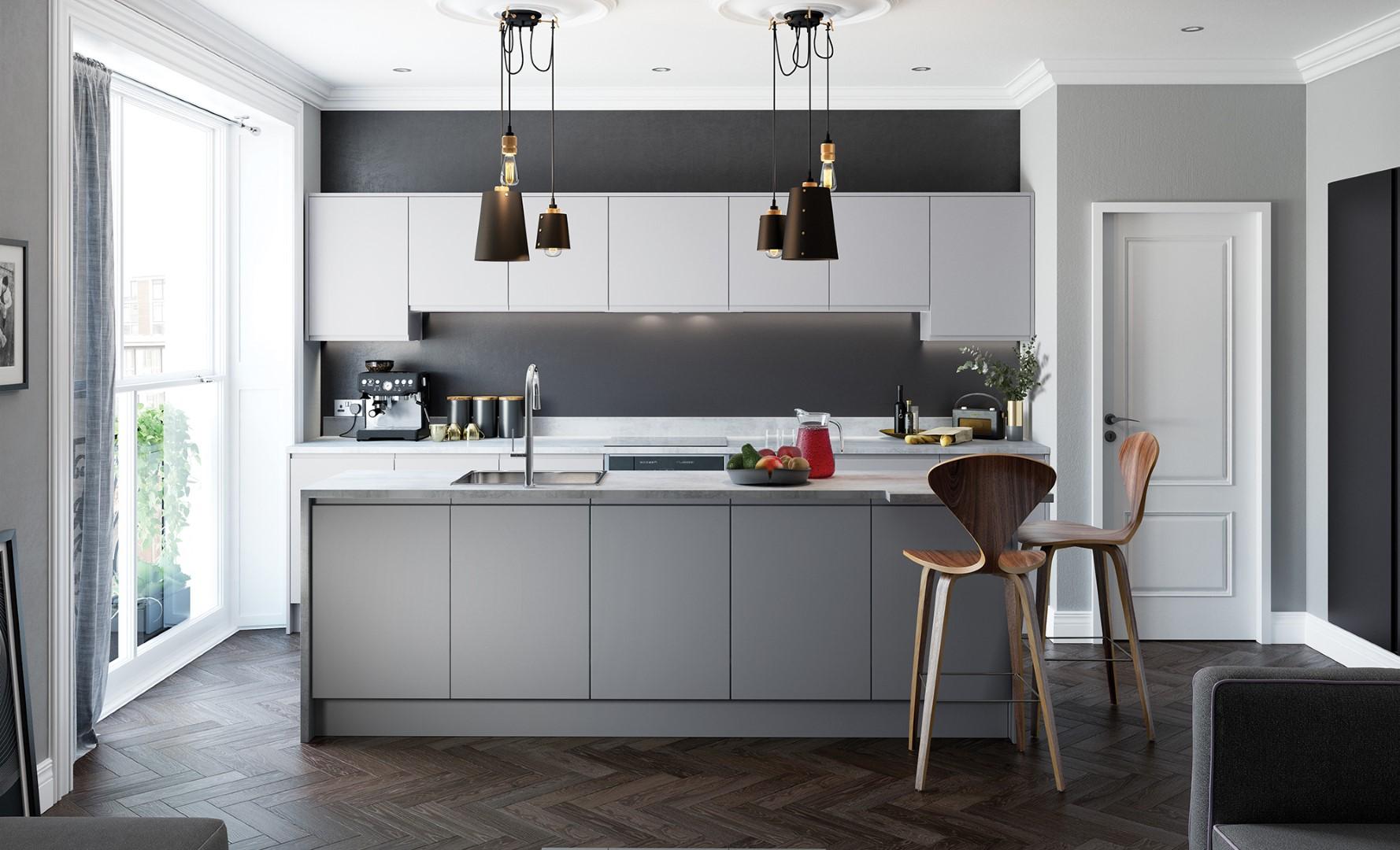 Contemporary Modern Kitchen - Strada Matte Hanleless Kitchen - Light Grey, Dust Grey, Graphite Kitchen - Kitchen Design - Alan Kelly Kitchens Waterford