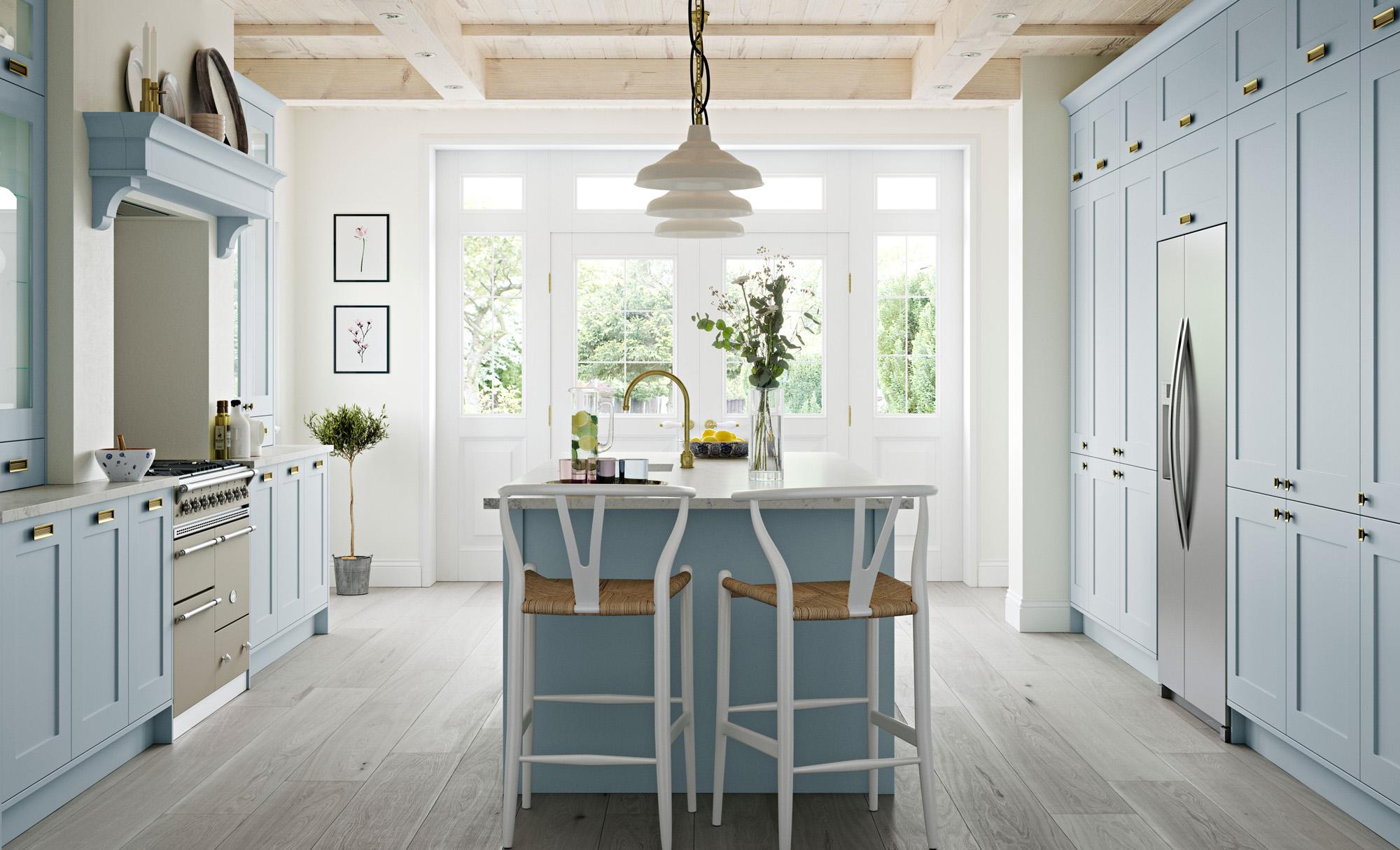 Country Classic Traditional Kitchen - Georgia Pantry Blue Kitchen - Kitchen Design - Alan Kelly Kitchens - Waterford