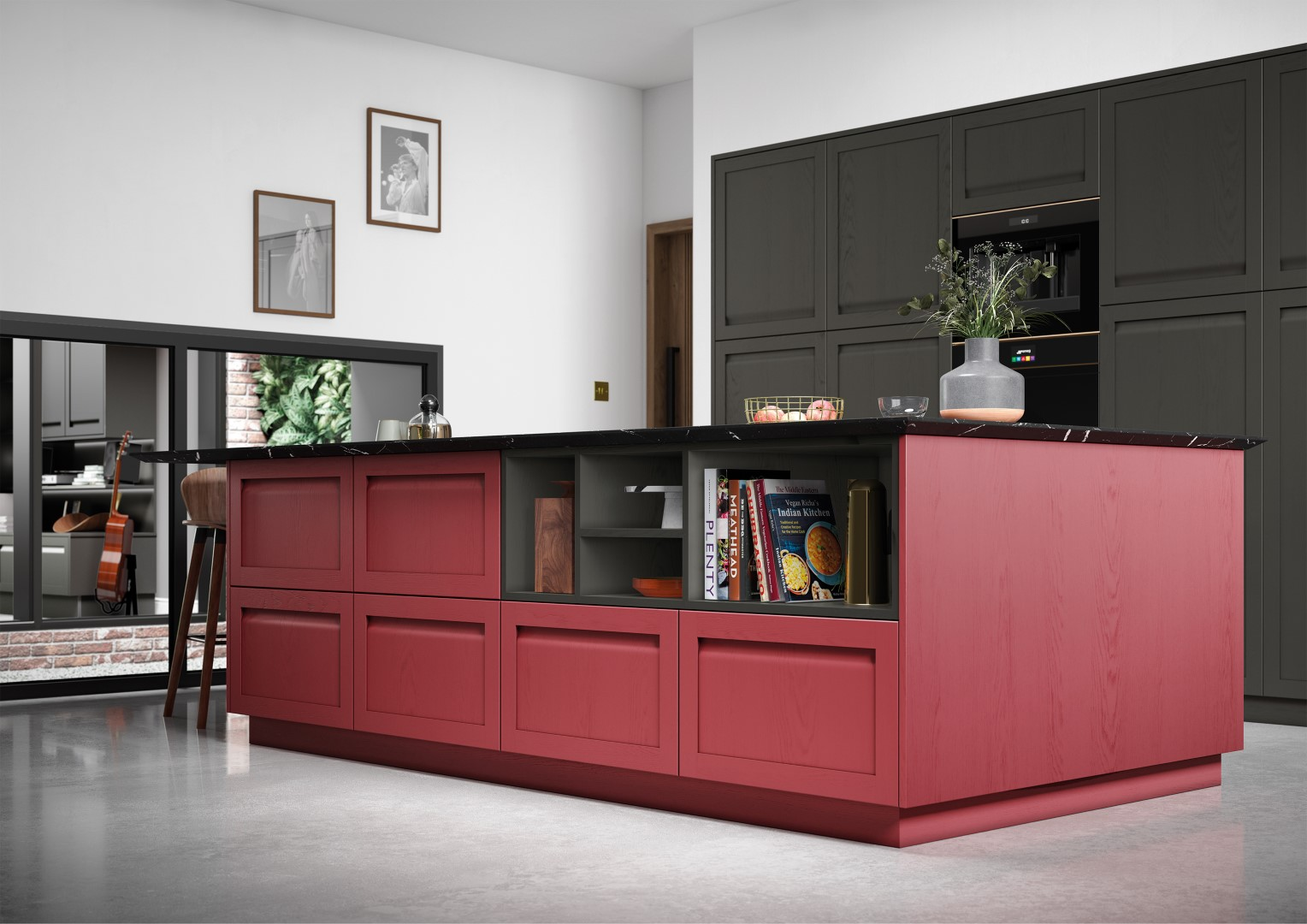 Harborne Graphite and Chicory Red - Kitchen Design - Alan Kelly Kitchens - Waterford - 1