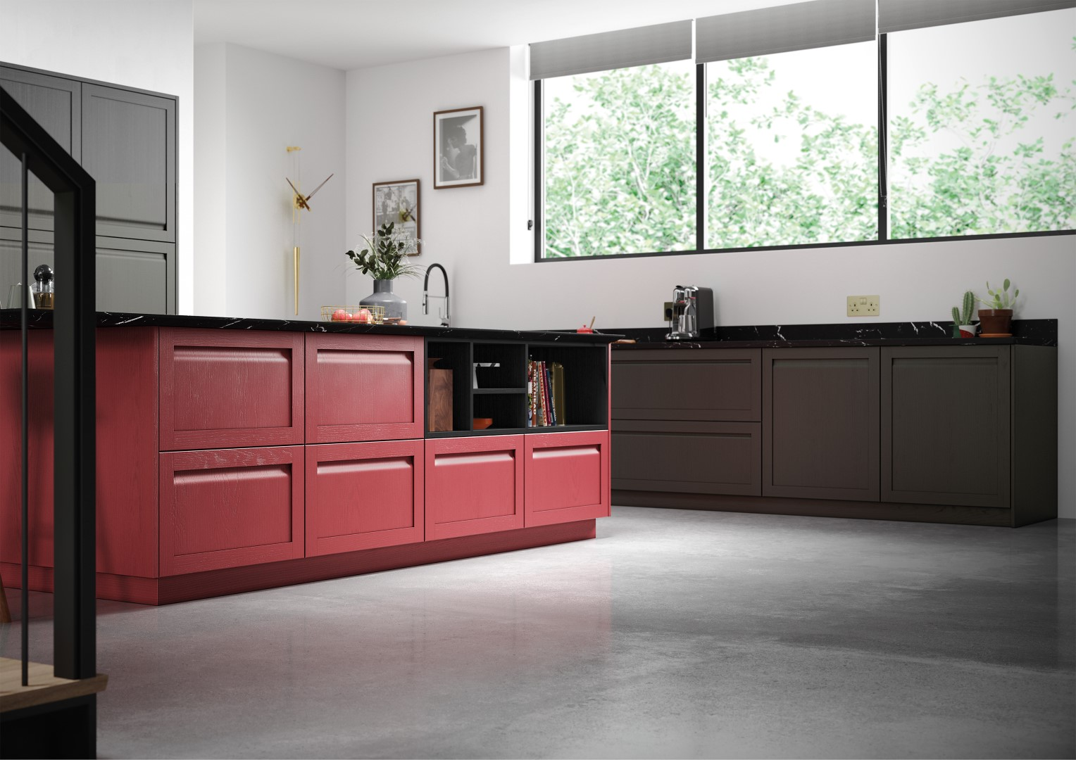 Harborne Graphite and Chicory Red - Kitchen Design - Alan Kelly Kitchens - Waterford - 2