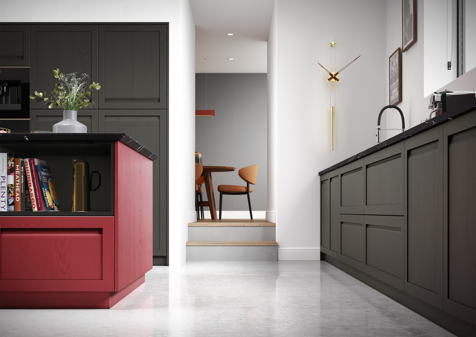 Harborne Graphite and Chicory Red - Kitchen Design - Alan Kelly Kitchens - Waterford - 3