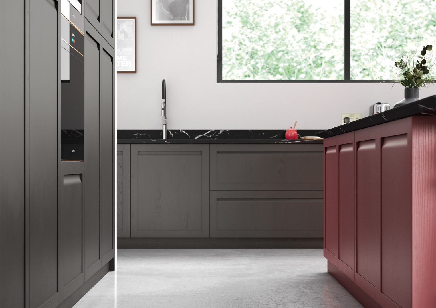 Harborne Graphite and Chicory Red - Kitchen Design - Alan Kelly Kitchens - Waterford - 4