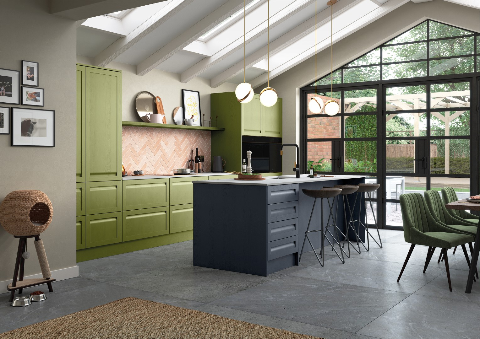 Harborne Slate Blue, Stone and Citrus Green - Kitchen Design - Alan Kelly Kitchens - Waterford - 1