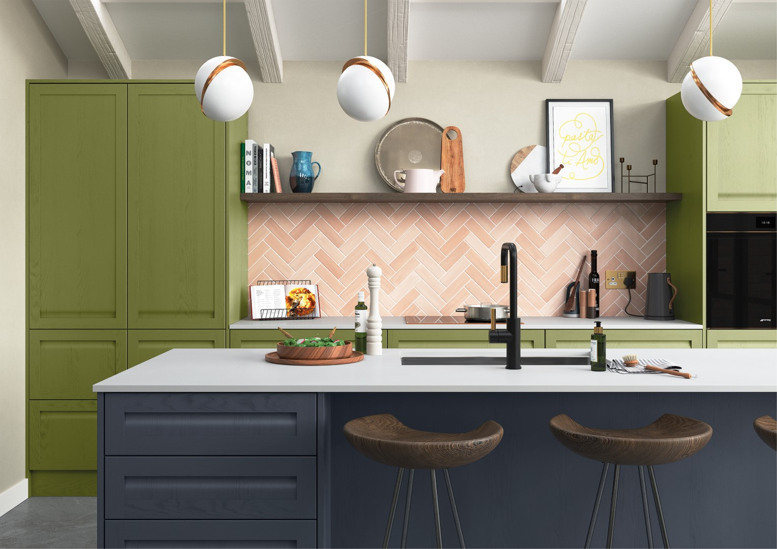 Harborne Slate Blue, Stone and Citrus Green - Kitchen Design - Alan Kelly Kitchens - Waterford - 2