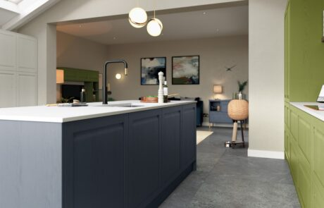 Harborne Slate Blue, Stone and Citrus Green - Kitchen Design - Alan Kelly Kitchens - Waterford - 4