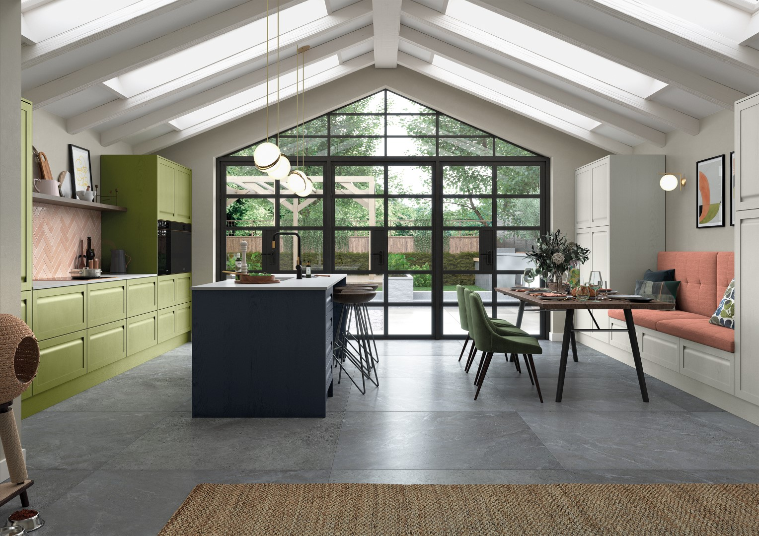 Harborne Slate Blue, Stone and Citrus Green - Kitchen Design - Alan Kelly Kitchens - Waterford - 5