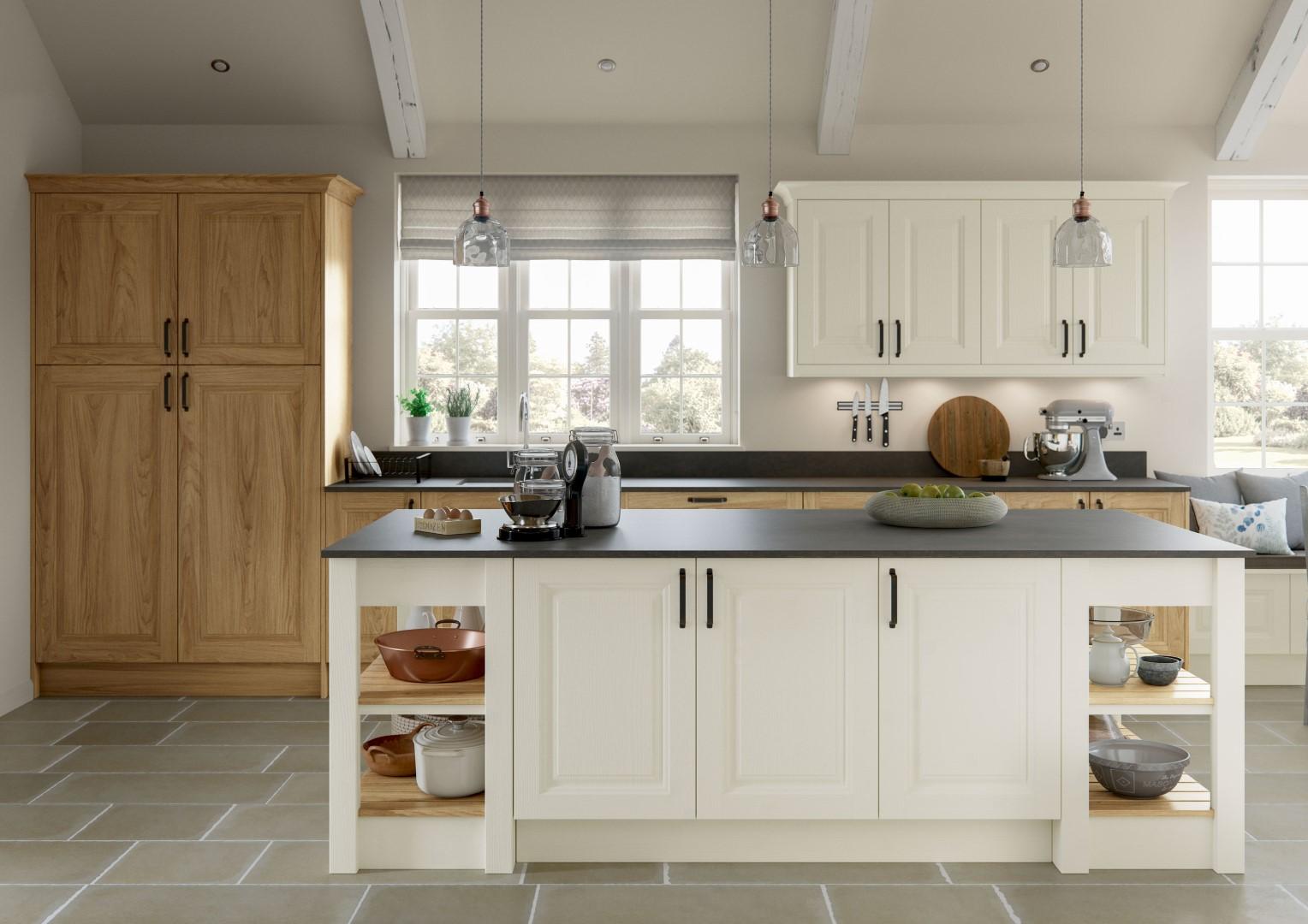 Jefferson Light Oak and Ivory Kitchen - Kitchen Design - Alan Kelly Kitchens - Waterford - 1