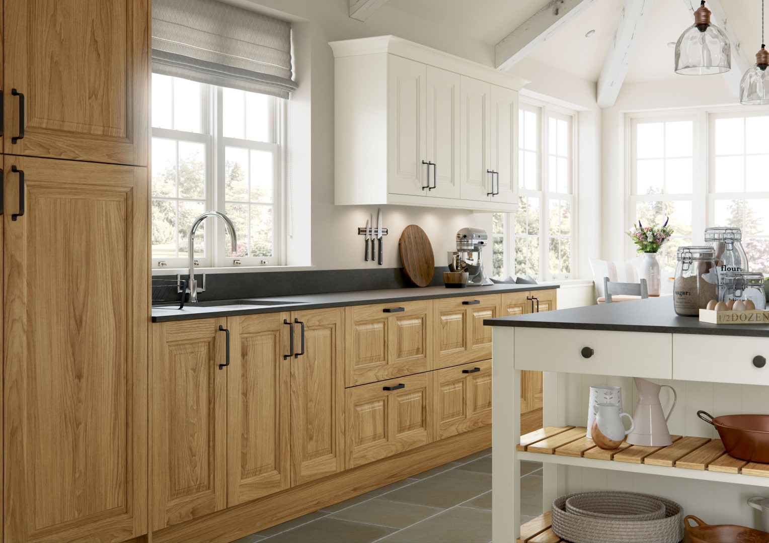 Jefferson Light Oak and Ivory Kitchen - Kitchen Design - Alan Kelly Kitchens - Waterford - 2