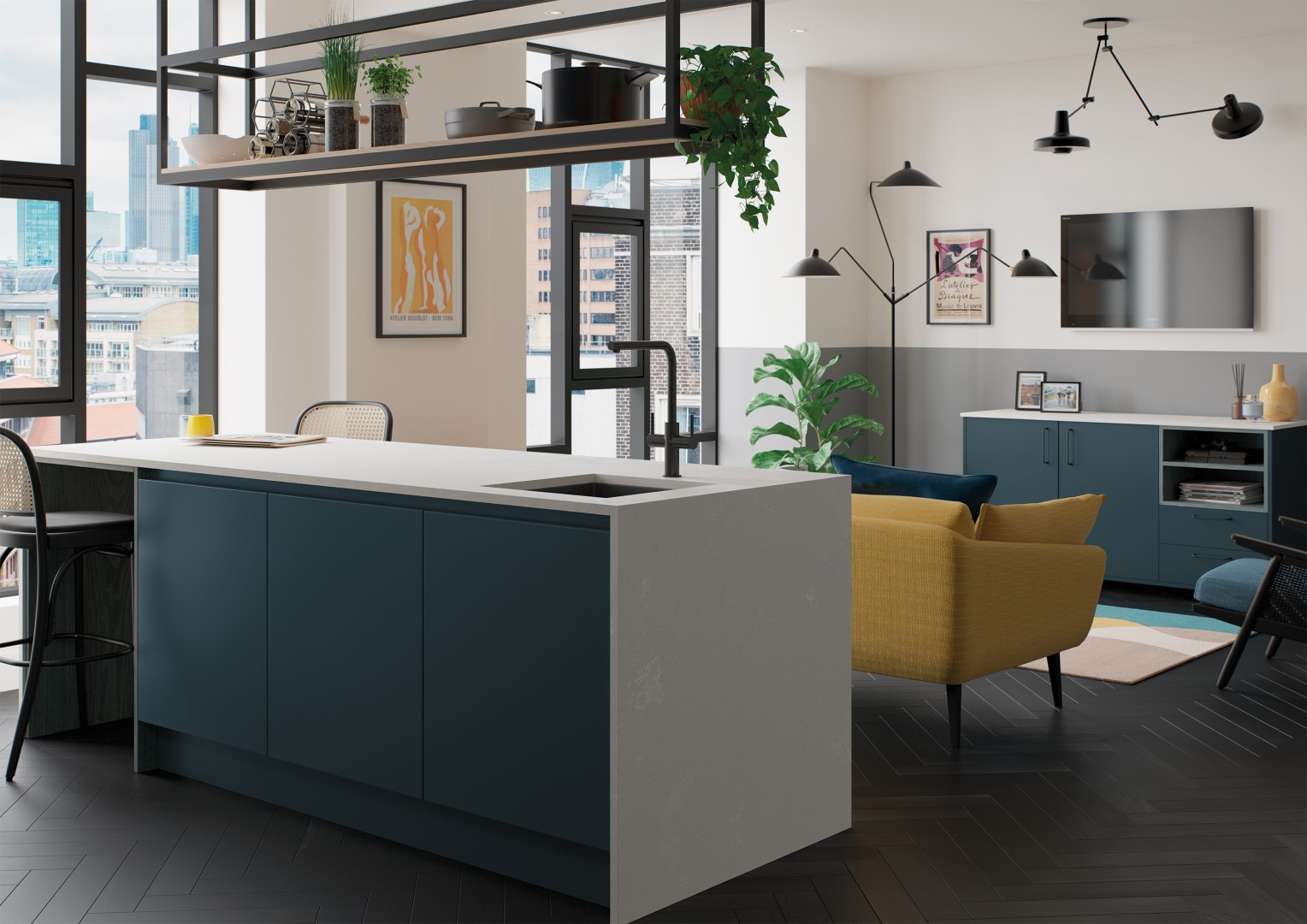 Kelso Stained Pacific Blue and Zola Matte Marine - Kitchen Design - Alan Kelly Kitchens Waterford - 1