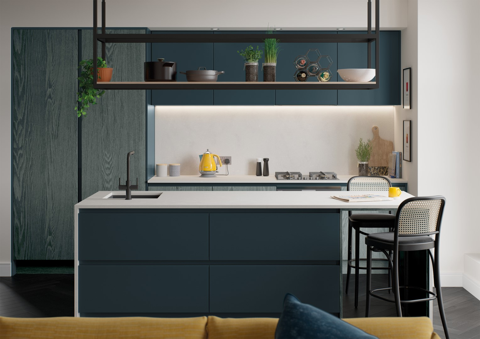 Kelso Stained Pacific Blue and Zola Matte Marine - Kitchen Design - Alan Kelly Kitchens Waterford - 2