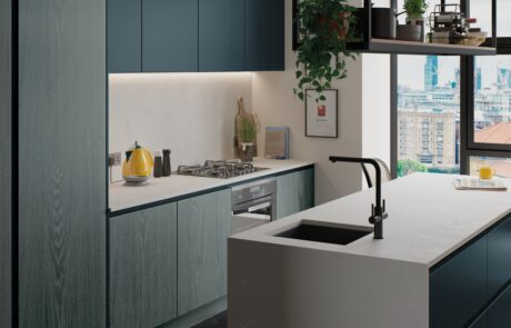Kelso Stained Pacific Blue and Zola Matte Marine - Kitchen Design - Alan Kelly Kitchens Waterford - 3