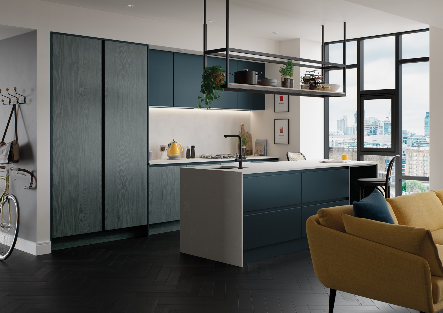 Kelso Stained Pacific Blue and Zola Matte Marine - Kitchen Design - Alan Kelly Kitchens Waterford - 5