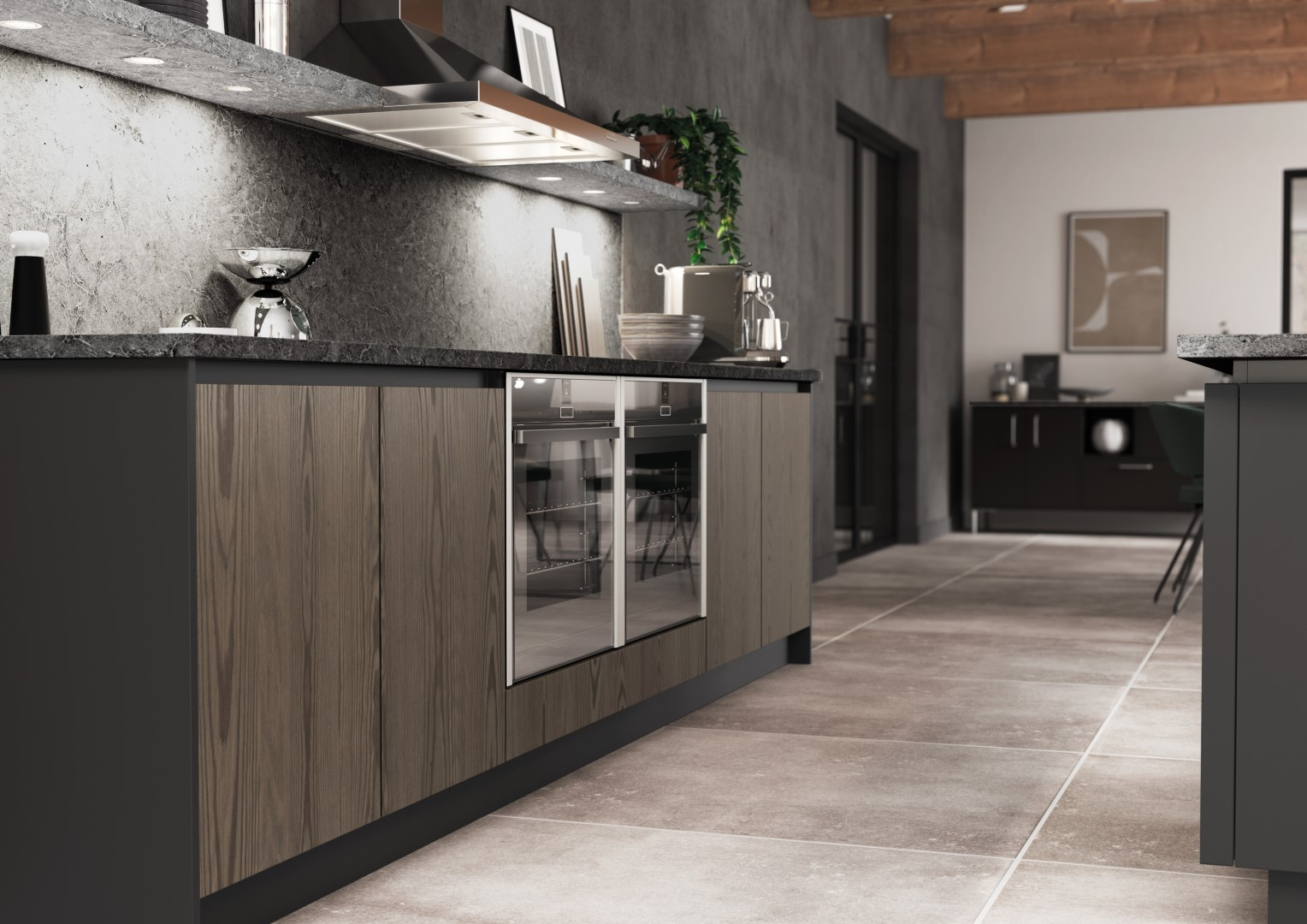 Kelso stained Truffle Grey and Zola Matte Graphite - Kitchen Design - Alan Kelly Kitchens - Waterford - 1