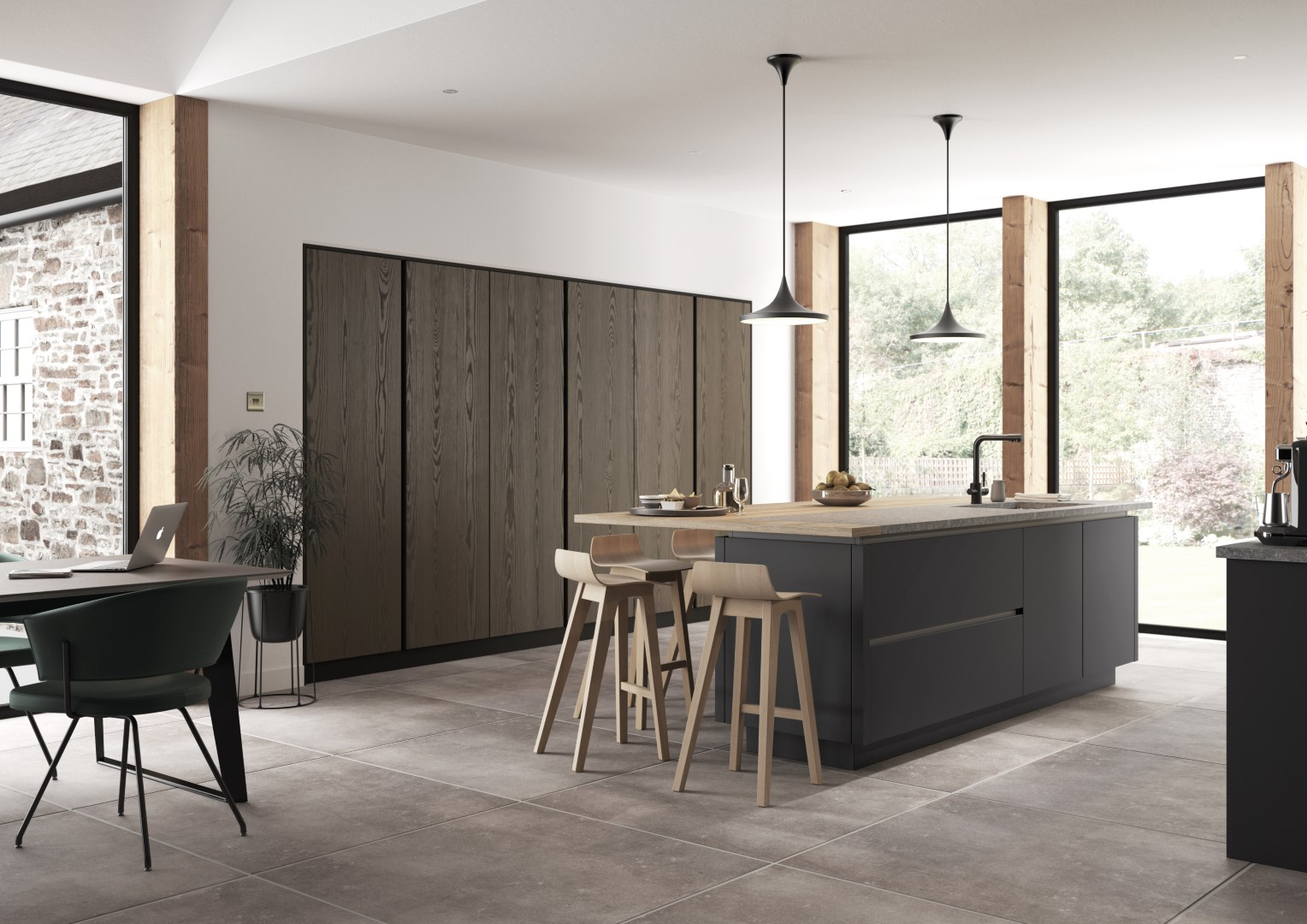 Kelso stained Truffle Grey and Zola Matte Graphite - Kitchen Design - Alan Kelly Kitchens - Waterford - 2