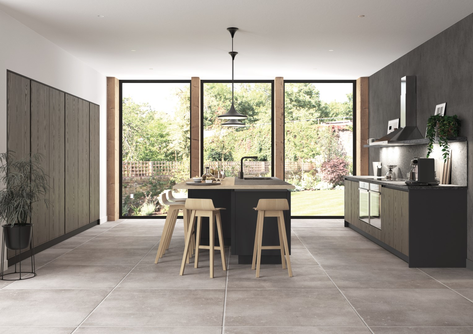 Kelso stained Truffle Grey and Zola Matte Graphite - Kitchen Design - Alan Kelly Kitchens - Waterford - 5