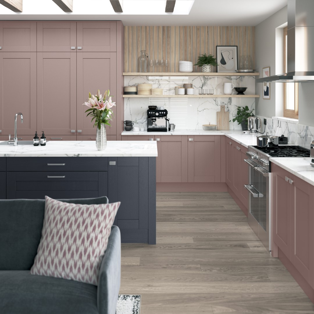 Madison Vintage Pink and Slate Blue - Kitchen Design - Alan Kelly Kitchens - Waterford - 1