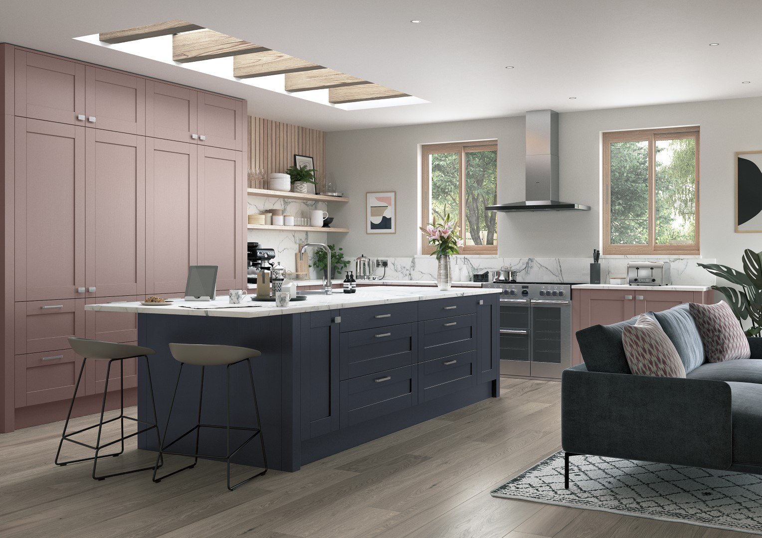 Madison Vintage Pink and Slate Blue - Kitchen Design - Alan Kelly Kitchens - Waterford - 5