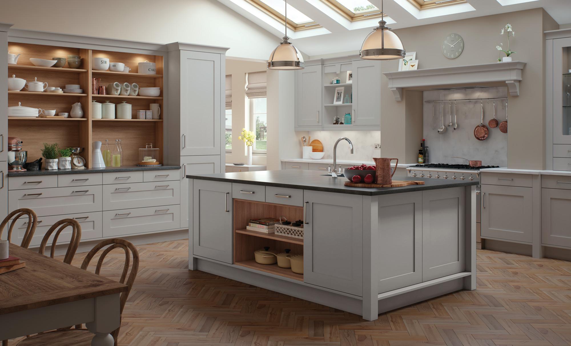 Modern Contemporary Classic Kitchen - Georgia Painted Light Grey Kitchen - Kitchen Design - Alan Kelly Kitchens - Waterford