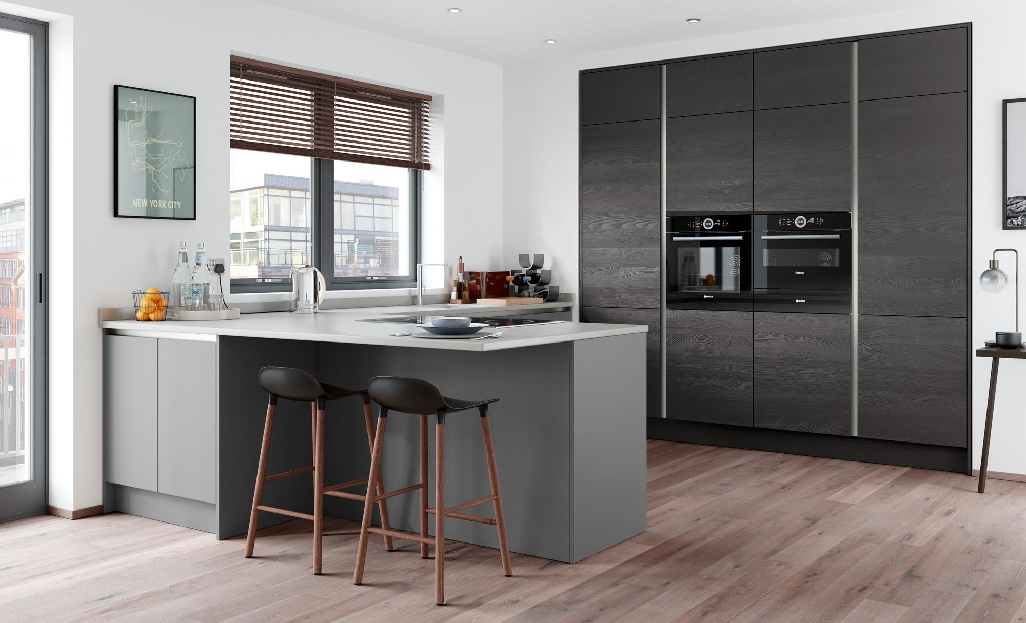 Modern Contemporary Handleless Kitchen - Tavola Hacienda Black, Zola Matte Dust Grey - Kitchen Design - Alan Kelly Kitchens - Waterford