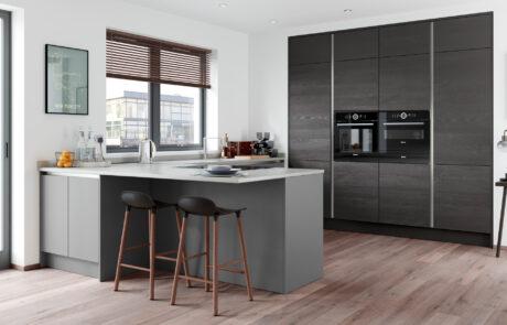 Modern Contemporary Handleless Kitchen - Zola Matte Dust Grey, Tavola Hacienda Black - Kitchen Design - Alan Kelly Kitchens - Waterford