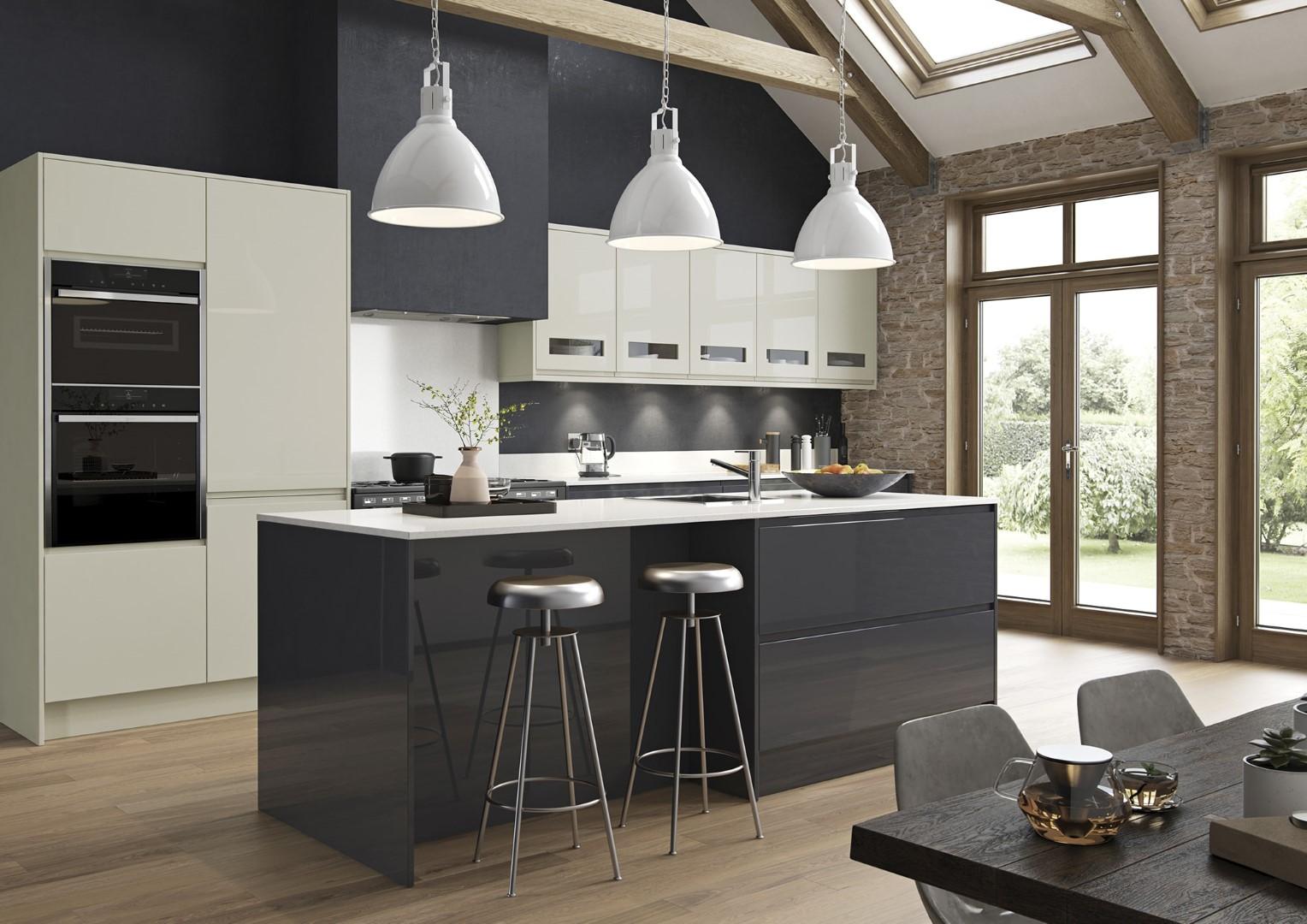 Modern Contemporary Kitchen - Strada Gloss Porcelain, Graphite Kitchen - Kitchen Design - Alan Kelly Kitchens - Waterford