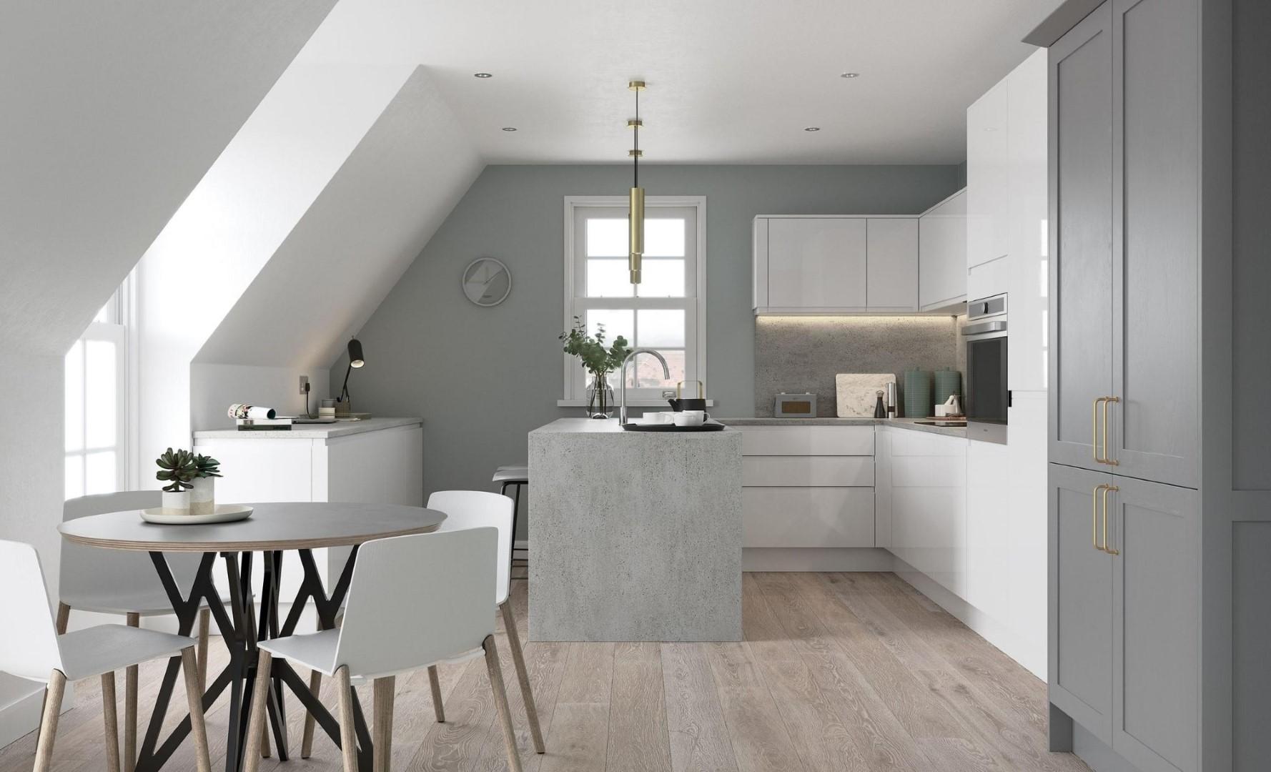 Modern Contemporary Kitchen - Strada Gloss White, Aldana Dust Grey - Kitchen Design - Alan Kelly Kitchens - Waterford