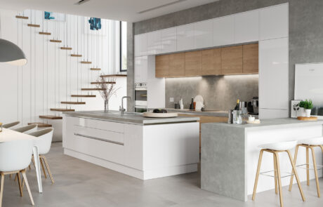 Modern Contemporary Kitchen - Tavola Stained Parched Oak Kitchen - Kitchen Design, Zola White Gloss - Alan Kelly Kitchens - Waterford