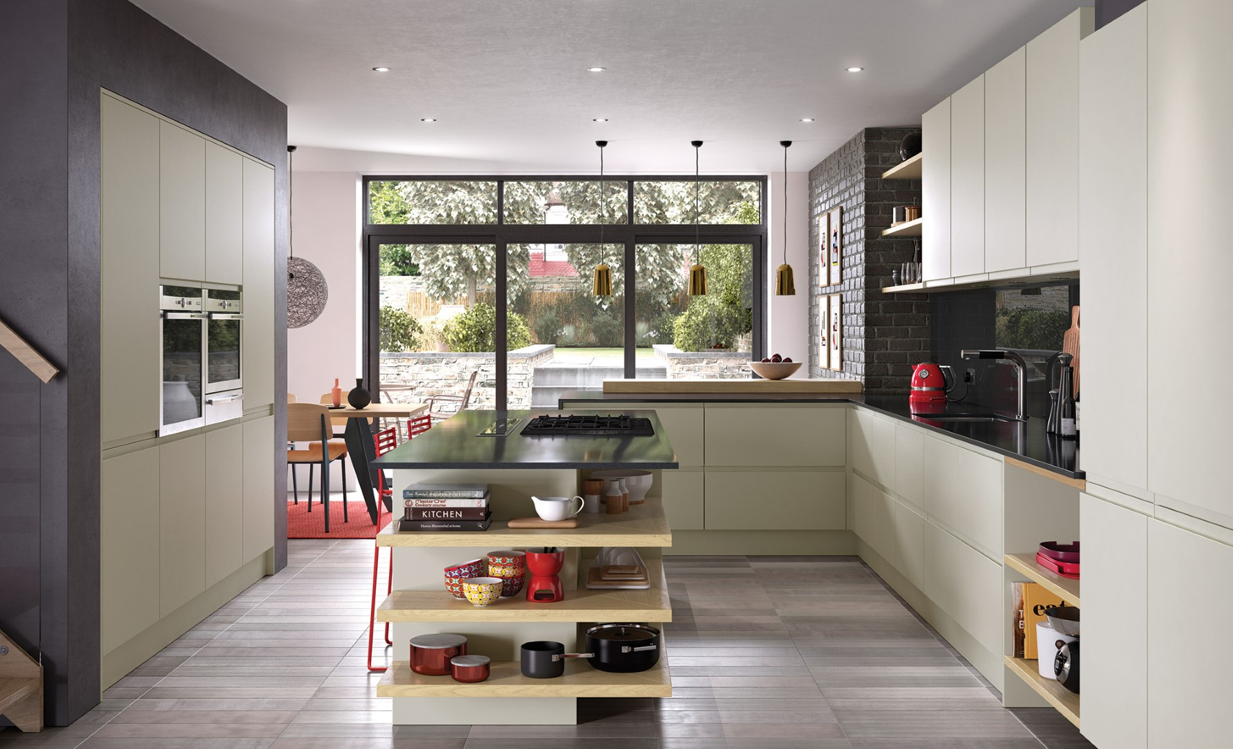 Modern Contemporary Strada Matte Mussel Painted Kitchen - Kitchen Design - Alan Kelly Kitchens - Waterford