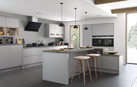 Modern Contemporary Strada Matte Painted Light Grey Kitchen - Kitchen Design - Alan Kelly Kitchens - Waterford