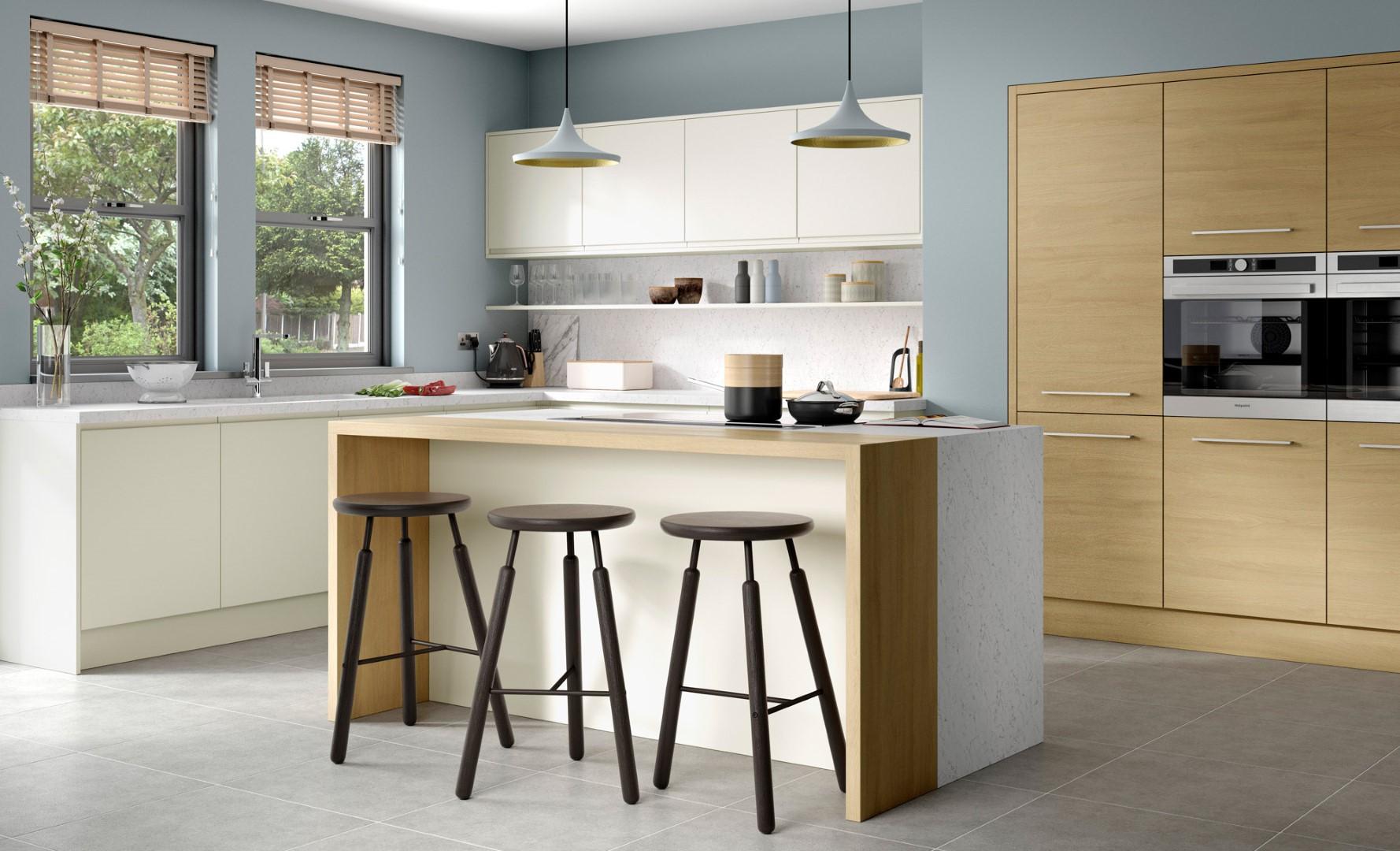 Modern Contemporary Strada Matte Porcelain, Tavola Light Oak - Kitchen Design - Alan Kelly Kitchens - Waterford