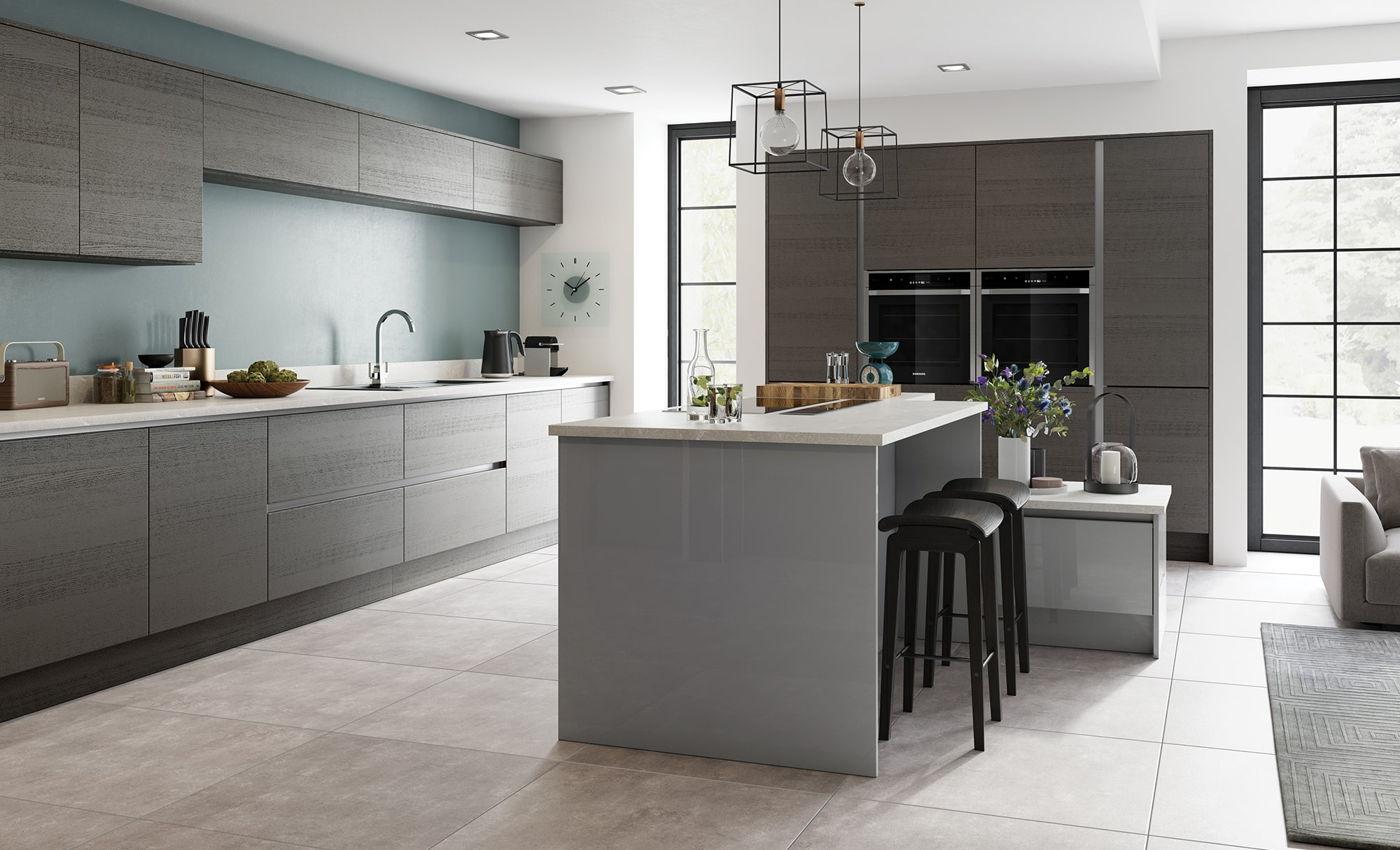 Modern Contemporary Tavola Anthracite, Zola Gloss Handleless Dust Grey Kitchen - Kitchen Design - Alan Kelly Kitchens - Waterford