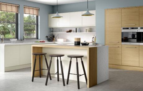 Modern Contemporary Tavola Light Oak, Strada Matte Porcelain - Kitchen Design - Alan Kelly Kitchens - Waterford