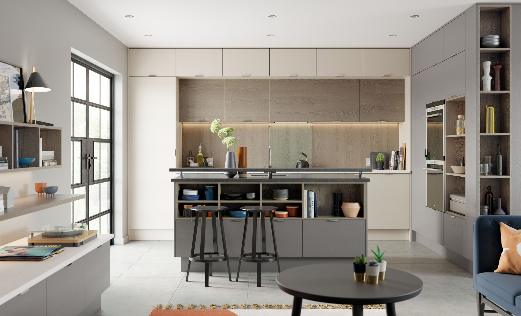 Modern Contemporary Tavola Painted Shell, Dust Grey Stained Weathered Sliver Oak Kitchen - Kitchen Design - Alan Kelly Kitchens - Waterford