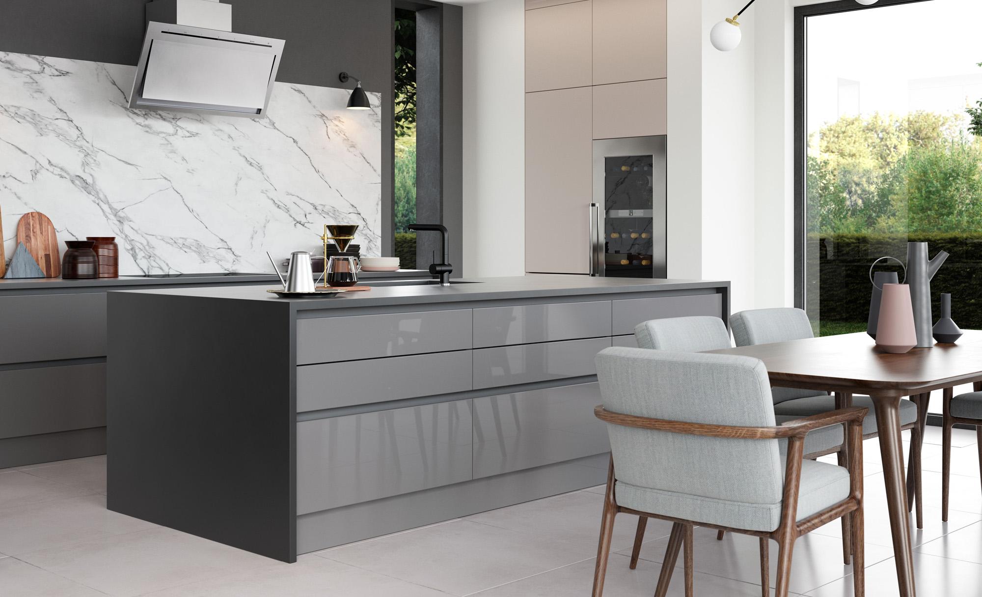 Modern Contemporary Tavola Stained Anthracite, Zola Gloss Dust Grey, Cashmere Kitchen - Kitchen Design - Alan Kelly Kitchens - Waterford