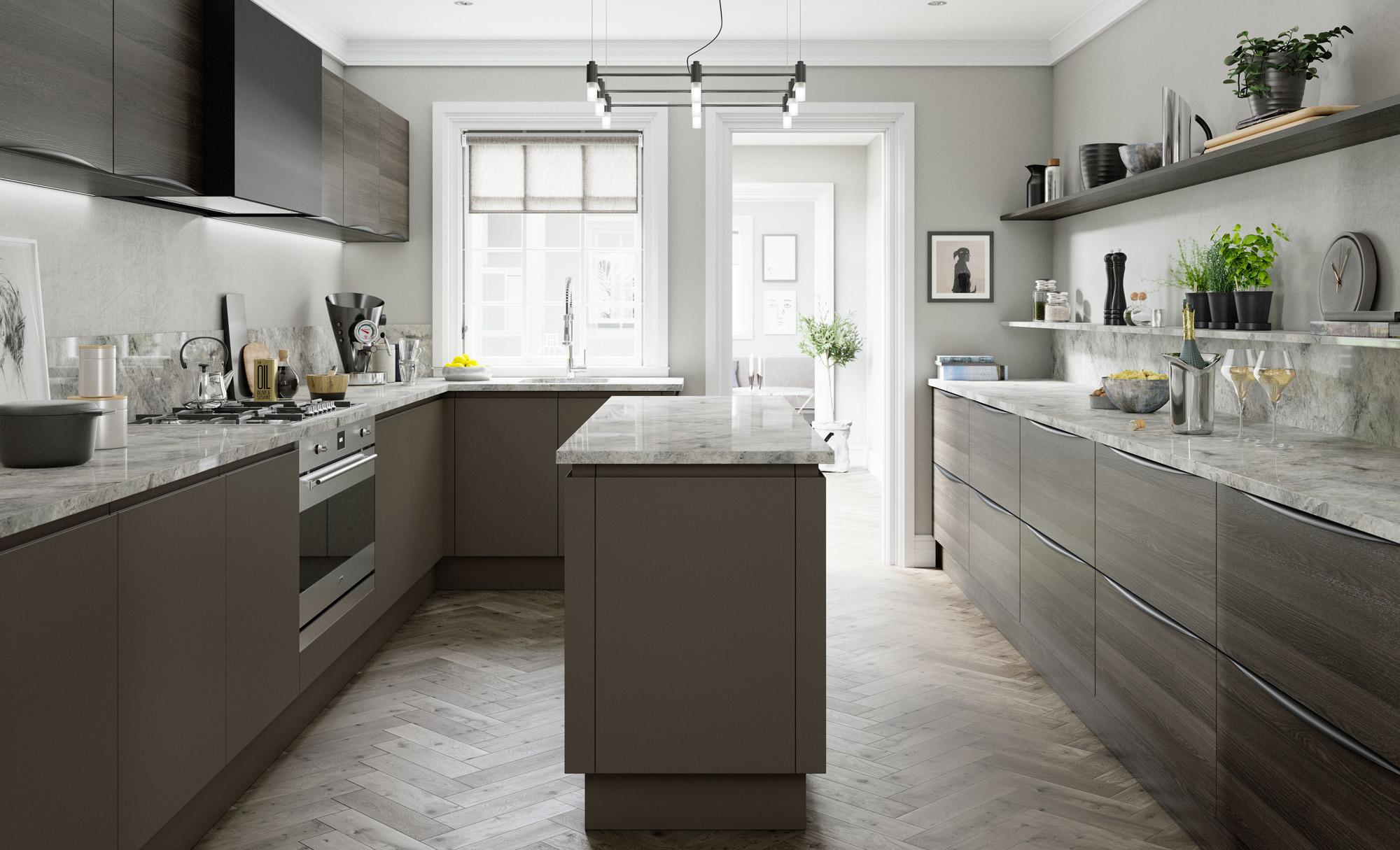 Modern Contemporary Tavola Stained Carbon Oak, Strada Matte Painted Lava Kitchen - Kitchen Design - Alan Kelly Kitchens - Waterford