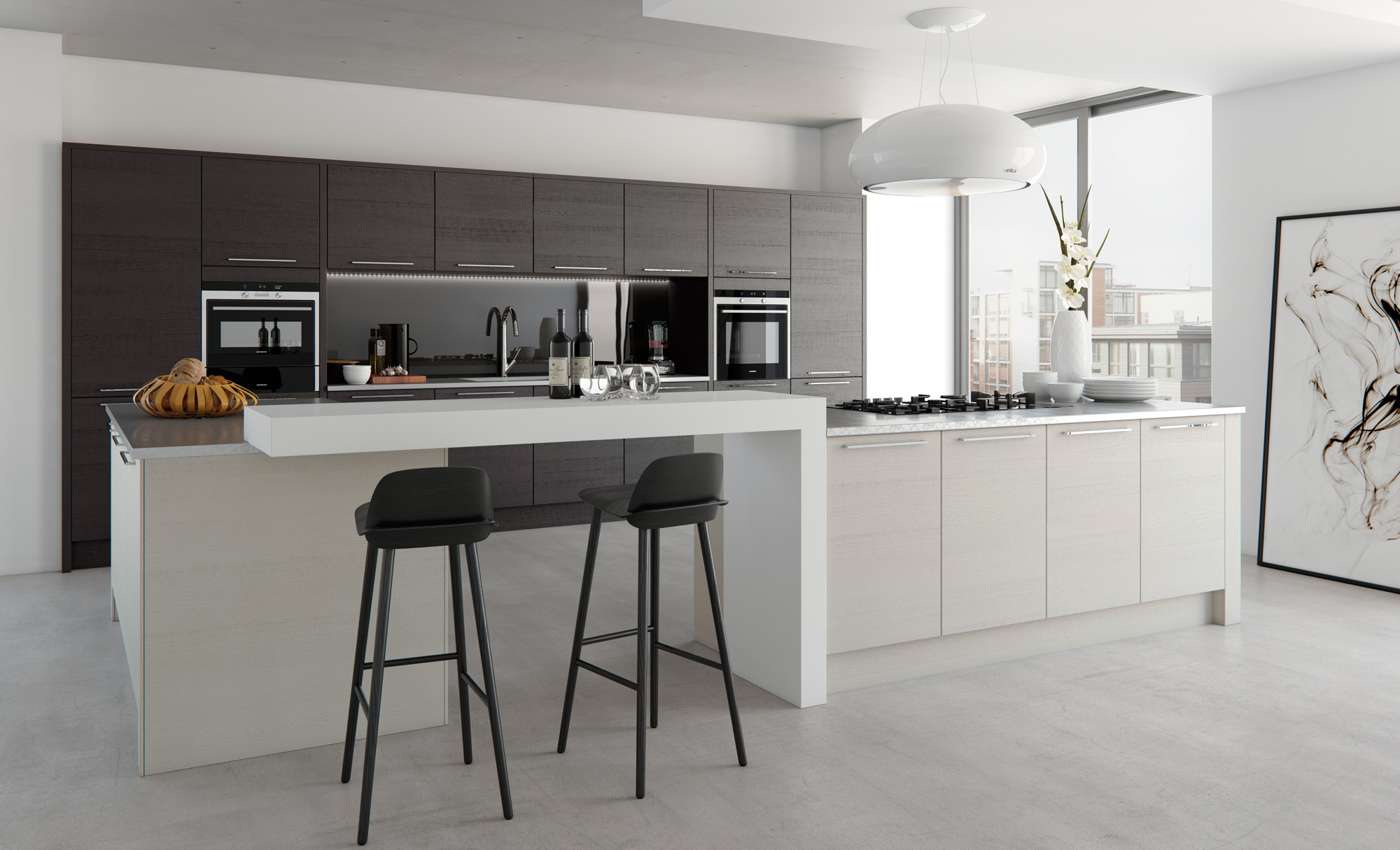 Modern Contemporary Tavola Stained Hacienda Black, Painted Light Grey Kitchen - Kitchen Design - Alan Kelly Kitchens - Waterford