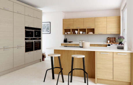 Modern Contemporary Tavola Stained Light Oak Painted Light Grey Kitchen - Kitchen Design - Alan Kelly Kitchens - Waterford