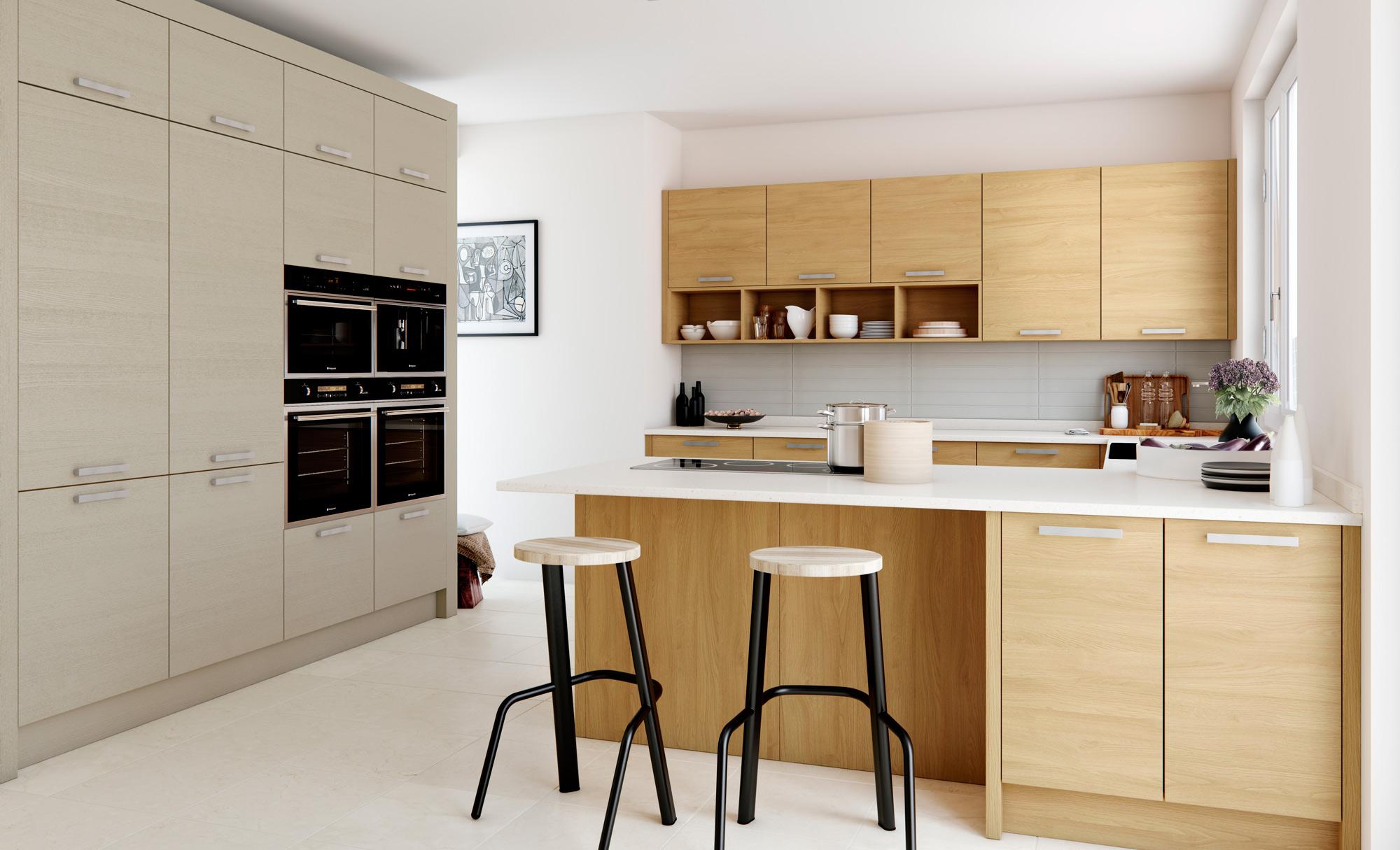 Modern Contemporary Tavola Stained Light Oak Painted Light Grey Kitchen - Kitchen Design - Alan Kelly Kitchens - Waterford