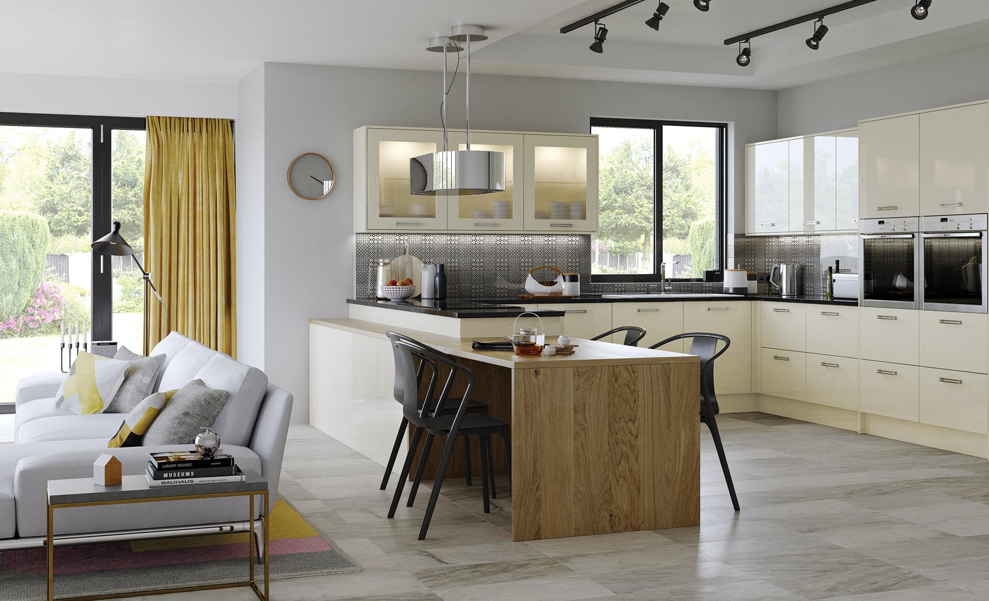Modern Contemporary Zola Gloss Ivory Kitchen - Kitchen Design - Alan Kelly Kitchens - Waterford