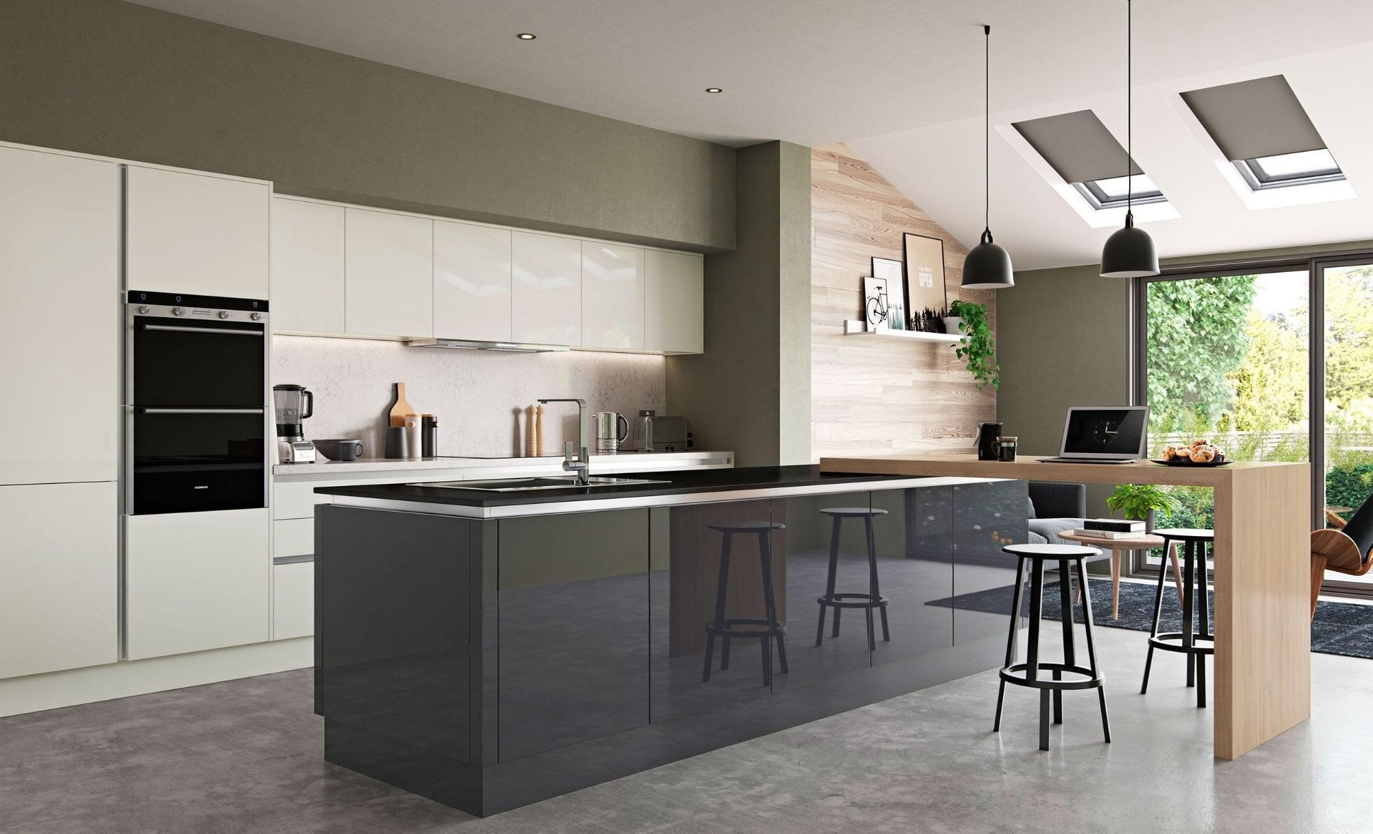 Modern Contemporary Zola Gloss Porcelain Graphite Kitchen - Kitchen Design - Alan Kelly Kitchens - Waterford