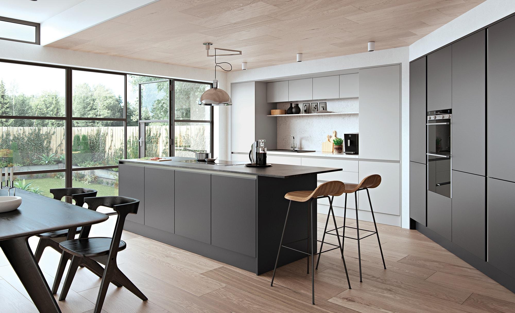 Modern Contemporary Zola Matte Graphite Light Grey Kitchen - Kitchen Design - Alan Kelly Kitchens - Waterford