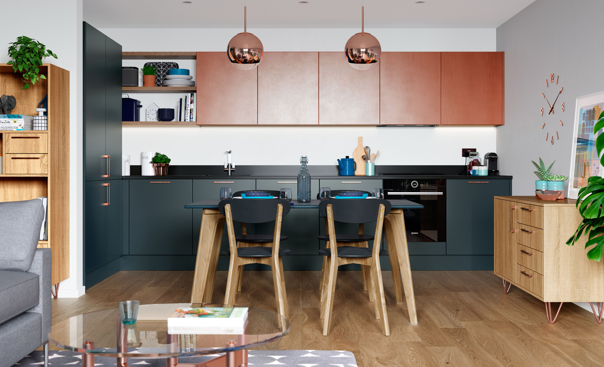 Modern Contemporary Zola Matte Painted Marine Ferro Painted Copper Razana Stained Light Oak Kitchen - Kitchen Design - Alan Kelly Kitchens - Waterford