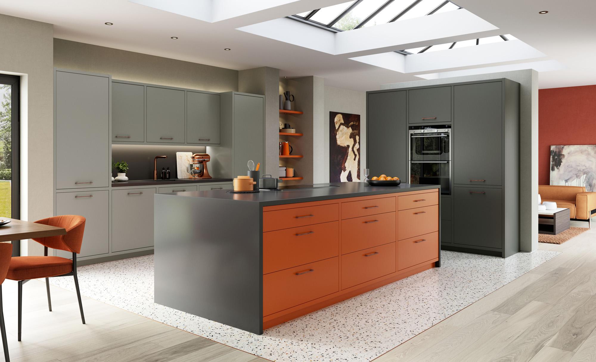 Modern Contemporary Zola Matte Zingy Orange, Graphite, Dust Grey Kitchen - Kitchen Design - Alan Kelly Kitchens - Waterford