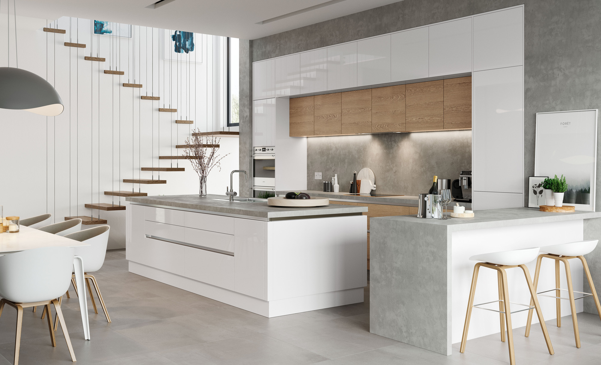 Modern Contemporary Zola White Gloss, Tavola Stained Parched Oak Kitchen - Kitchen Design - Alan Kelly Kitchens - Waterford